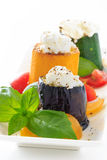 Grilled eggplant, zucchini with cottage cheese Stock Photo