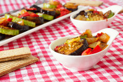 Grilled eggplant and zucchini with peppers and onions. Steamed vegetables in square and round plates on a checkered tablecloth.crispbread Royalty Free Stock Image
