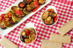 Grilled eggplant and zucchini with peppers and onions. Steamed vegetables in square and round plates on a checkered tablecloth.crispbread Stock Image