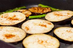 Grilled Eggplants and Asparagus Stock Photography