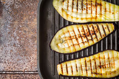 Grilled eggplants on the metal background top view Stock Image