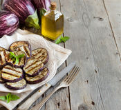 Grilled eggplants seasoned with olive oil Stock Images