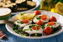 Grilled eggplants with yogurt dip and tomatoes Royalty Free Stock Photography