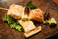 Grilled fatty salmon with salt Royalty Free Stock Photography