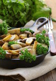 Grilled field champignon mushrooms Stock Images