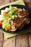 Grilled filet mignon steak with vegetable salad and mushrooms cl. Ose-up on a plate on the table. vertical royalty free stock images