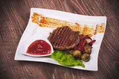 Grilled fillet of beef with vegetables Stock Image