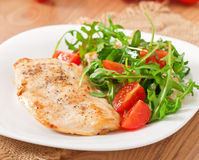 Grilled fillet of chicken stock images