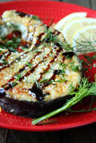 Grilled fillet of fish Escolar and soy sauce Royalty Free Stock Photos