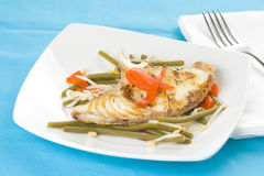 Grilled fillet of fish and soy beans Royalty Free Stock Images