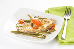 Grilled fillet of fish and soy beans Stock Images