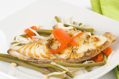 Grilled fillet of fish and soy beans Royalty Free Stock Photos