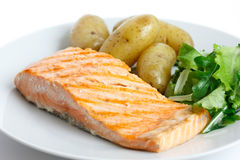Grilled fillet of salmon on plate with green salad and potatoes Stock Images