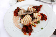 Grilled fillet of swordfish Stock Photo