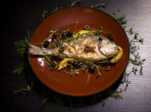 Grilled Fish. Big Grilled Fish with Lemon Stock Photography