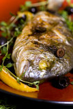 Grilled Fish. Big Grilled Fish with Lemon Stock Photos