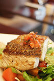 Grilled Fish. On a bed of lettuce Royalty Free Stock Photography
