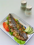 Grilled fish. Course diet dish fish grilled health main meat potatoes vegetables Royalty Free Stock Photo