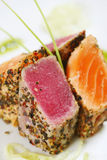 Grilled fish. Grilled tuna fish and salmon stock image