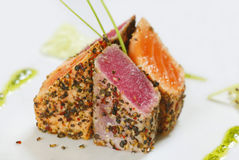 Grilled fish. Grilled tuna fish and salmon stock photos