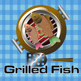Grilled fish. Abstract colorful background with two fish on a grill. Fish cuisine concept Royalty Free Stock Photography