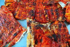 Grilled fish achiote tikinchick Mayan sauce Royalty Free Stock Photo