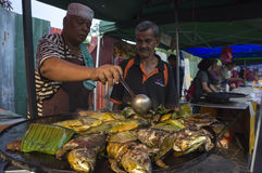Grilled Fish At Ramadan Market Royalty Free Stock Images