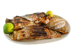 Grilled fish barbecue. Grilled salmon fish barbecue with lemons on a plate, white background royalty free stock photo