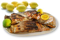 Grilled fish barbecue. Grilled salmon fish barbecue with lemons on a plate, white background royalty free stock image