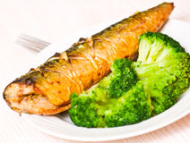 Grilled fish with broccoli Royalty Free Stock Photography