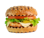 Grilled fish burger isolated on white background. Grilled burger with salad on white background Stock Photo