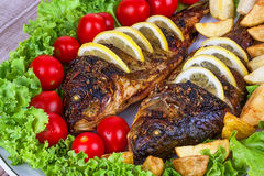Grilled fish carp served with potatoes, tomatoes cherry, salad and lemon Royalty Free Stock Photos