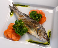 Grilled fish on the ceramic plate. Ceramic plate  on white Broccoli and carrots Stock Images
