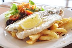 Grilled fish and Chips. Plate of grilled barramundi fish, french fries and salad Royalty Free Stock Image