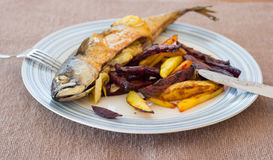 Grilled fish and chips stock photos