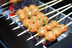 Grilled fish with curry paste ball royalty free stock image