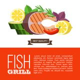 Barbecue party. Grilled fish and vegetables. Vector illustration. Grilled fish. Delicious grilled salmon surrounded by vegetables. Still life of fish, zucchini Royalty Free Stock Photography