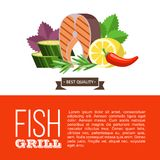Barbecue party. Grilled fish and vegetables. Vector illustration. Grilled fish. Delicious grilled salmon surrounded by vegetables. Still life of fish, zucchini Stock Images