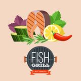 Barbecue party. Grilled fish and vegetables. Vector illustration. Grilled fish. Delicious grilled salmon surrounded by vegetables. Still life of fish, zucchini Royalty Free Stock Image