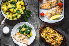 Grilled fish fillet with potato and salad Stock Photos
