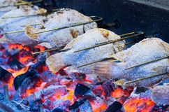 Grilled fish with flames. Seafood royalty free stock images