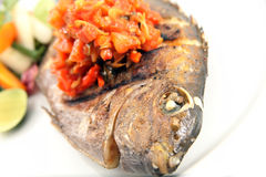 Grilled fish food portion Royalty Free Stock Photography