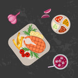 Grilled fish and french fries. With cola on wooden table. Top view Vector illustration eps 10 Stock Photography