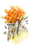 Grilled fish and french fries isolated on white Stock Photography