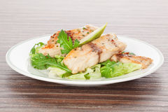 Grilled fish and fresh salad. Royalty Free Stock Photography