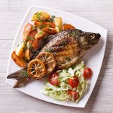 Grilled fish with fried potatoes and salad top view, closeup