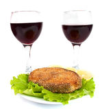 Grilled fish and a glass of wine Stock Photography