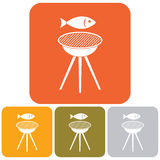 Grilled fish icon. Vector illustration Stock Photography