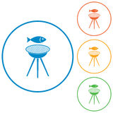 Grilled fish icon Royalty Free Stock Photography