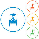 Grilled fish icon Stock Image